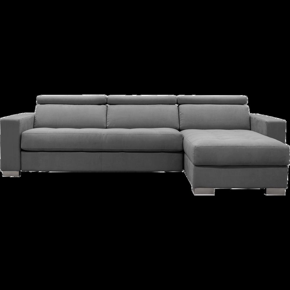 canapé d'angle réversible fixe en microfibre gris-MAURO