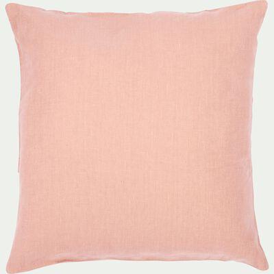 Coussin de sol en lin lavé rose argile 70x70cm-VENCE