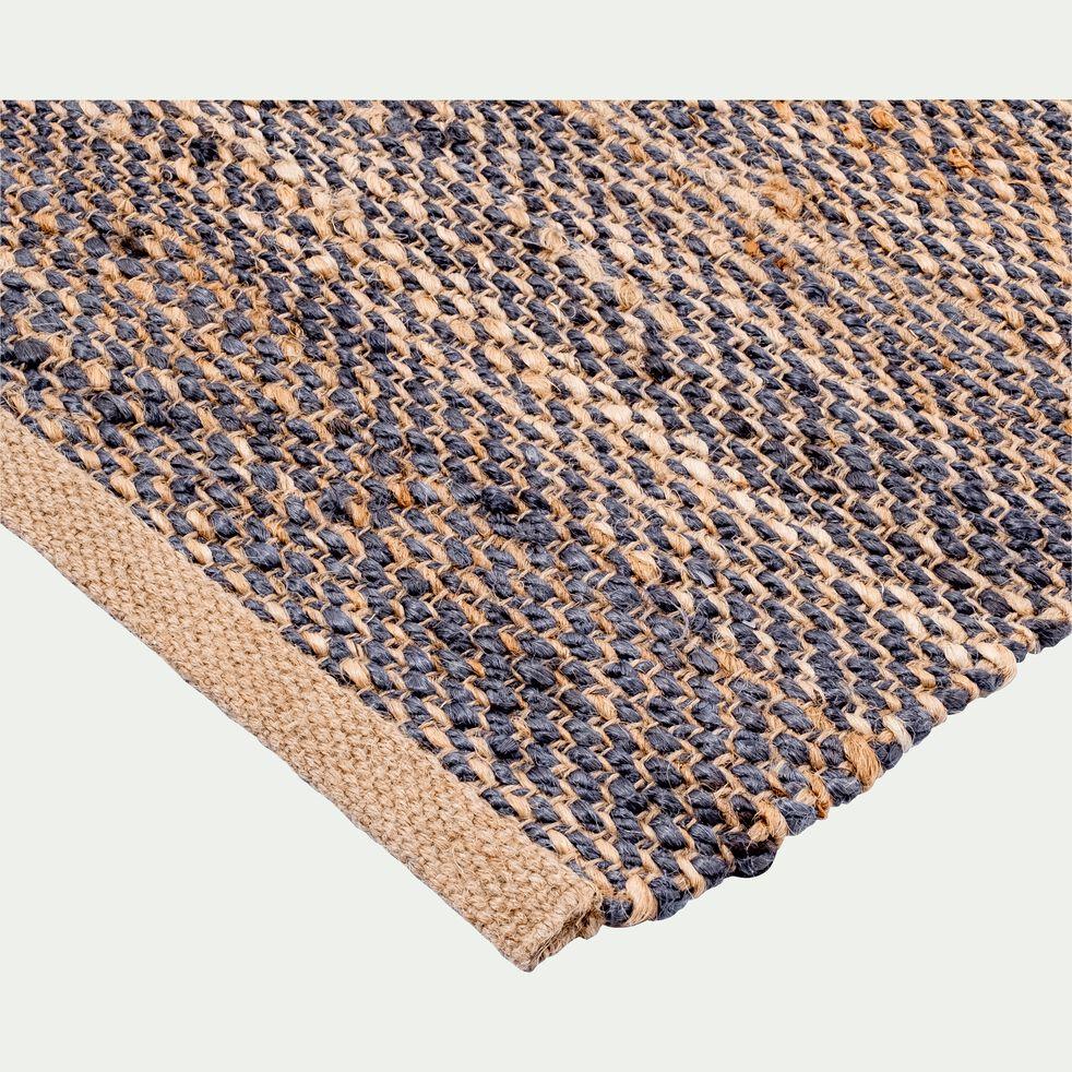 Tapis tressé en jute - naturel et bleu 160x230cm-AARON