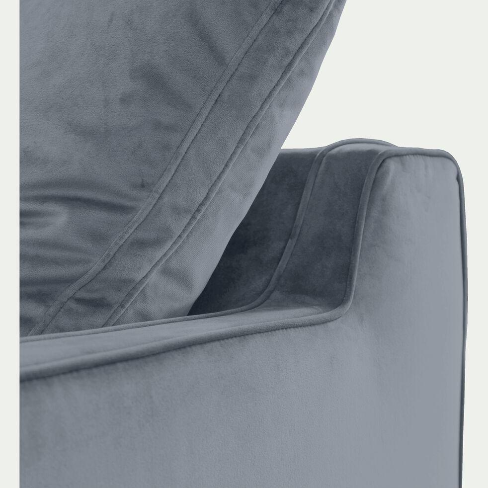 Canapé 3 places convertible en velours - gris restanque-LENITA