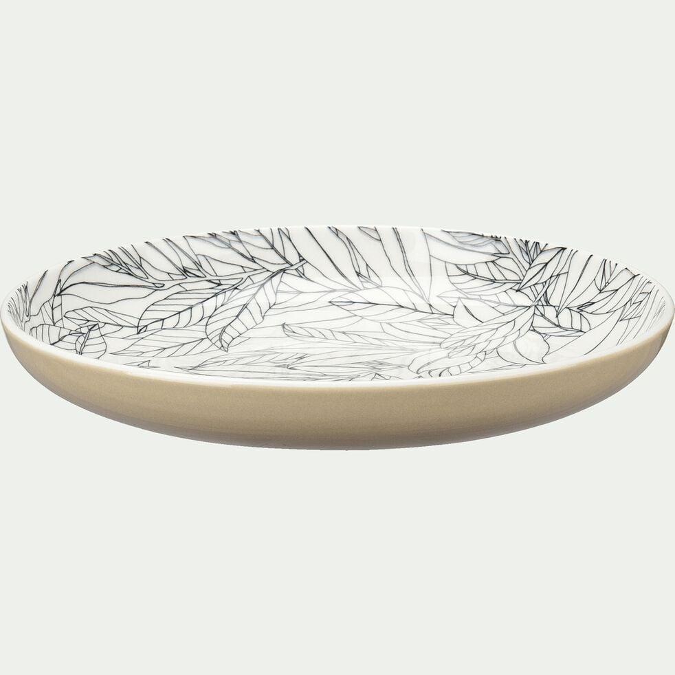 Assiette à dessert en porcelaine motifs laurier - beige nèfle D20cm-AIX