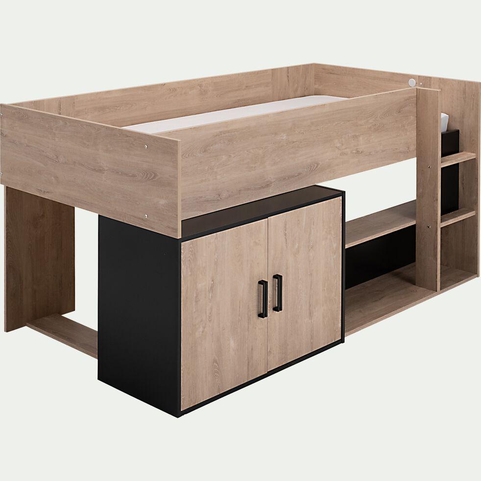 Lit compact haut avec rangements 90x200cm - bois clair-ADELIN