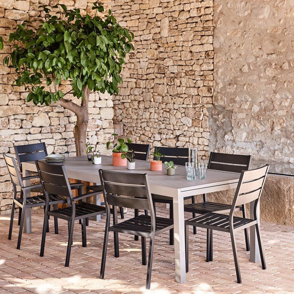 Table de jardin extensible en aluminium - gris vésuve (10 à 12 places)-Jaco