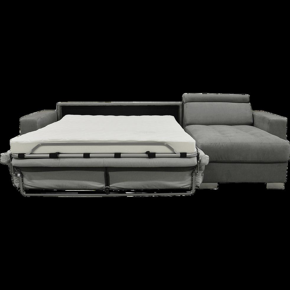 Canapé d'angle réversible convertible en microfibre gris-MAURO