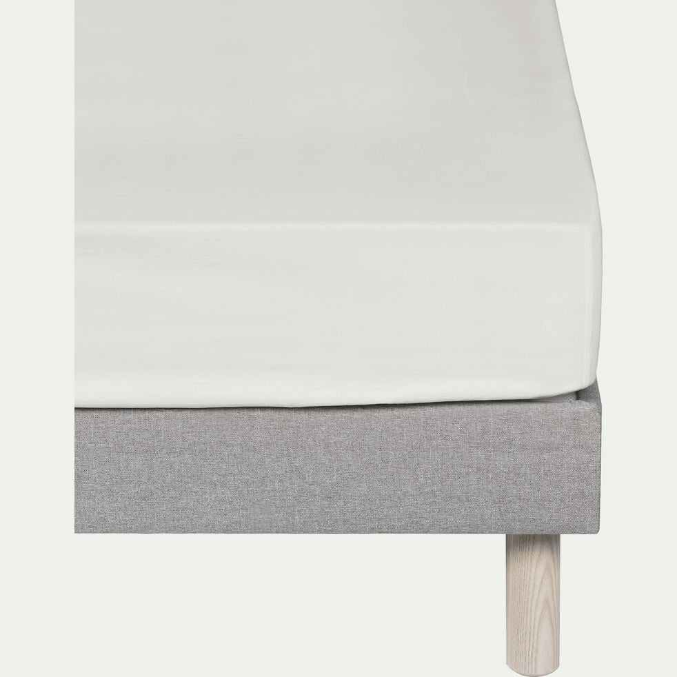 Drap housse en percale de coton Blanc Ventoux 140x200cm bonnet 25cm-FLORE