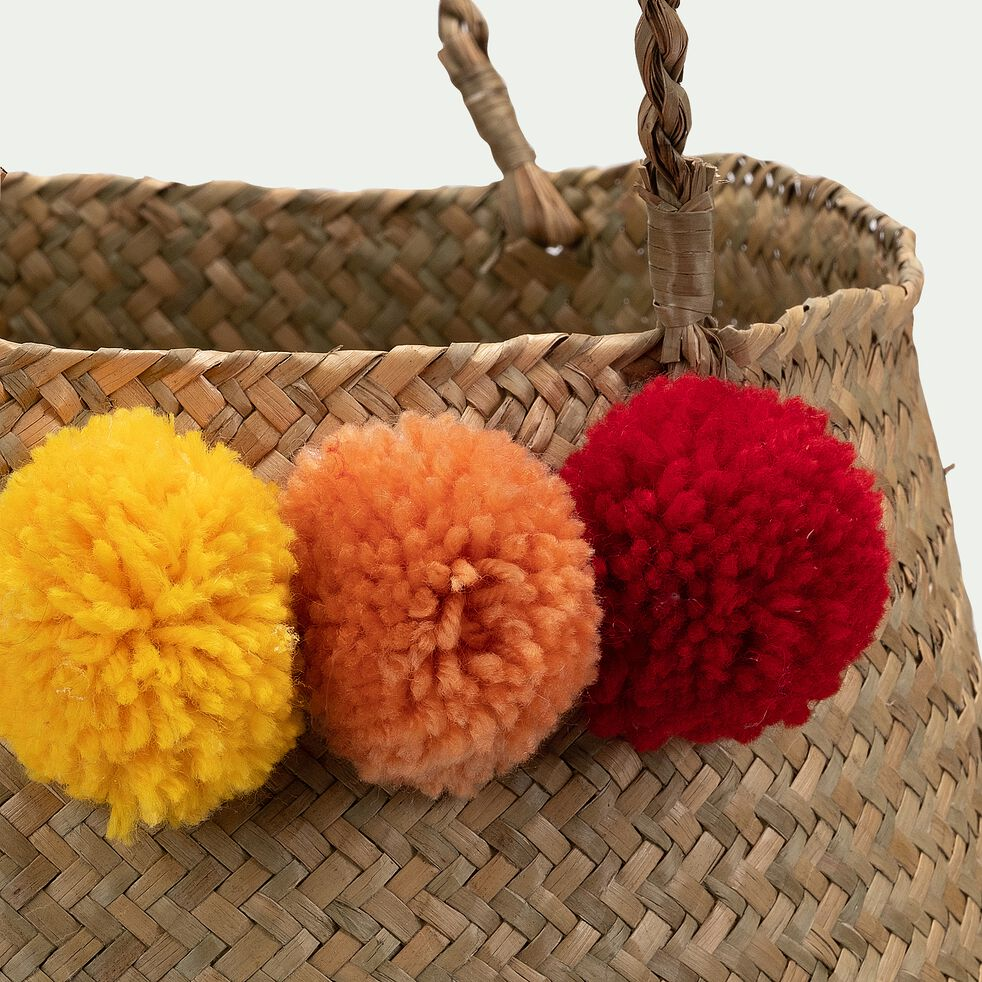panier pliable en jacinthe et acrylique avec pompons jaunes et rouge - naturel d30xh30cm-Zita