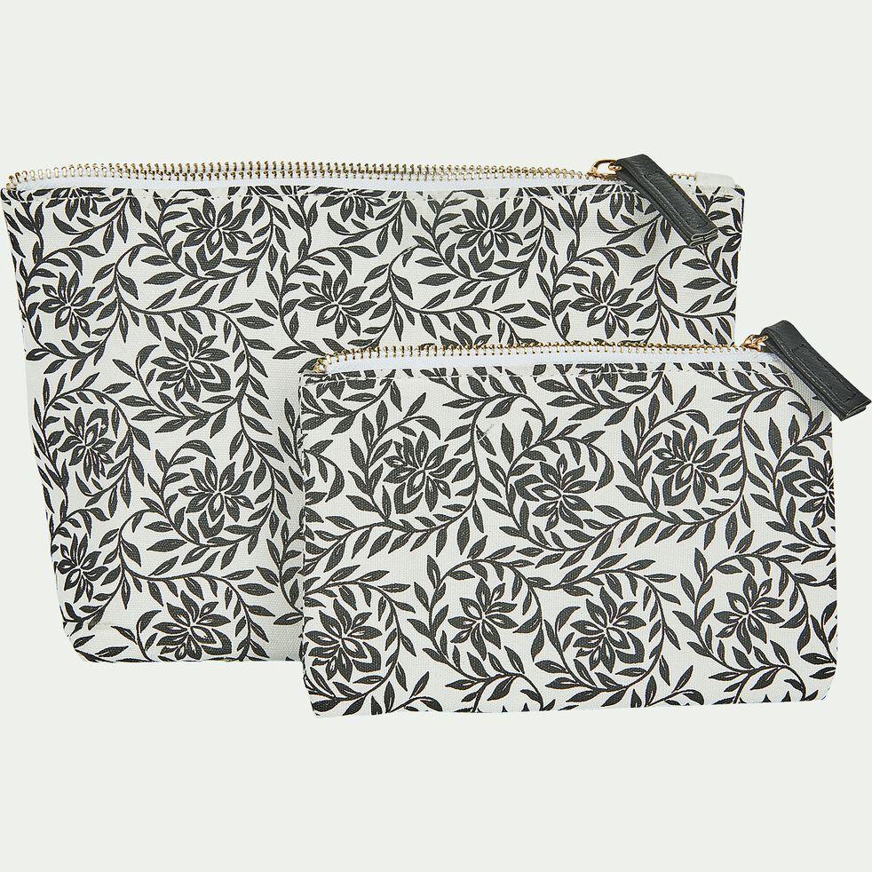 Trousse en coton motif Jasmin - noir et blanc 15x24cm-Jasmin