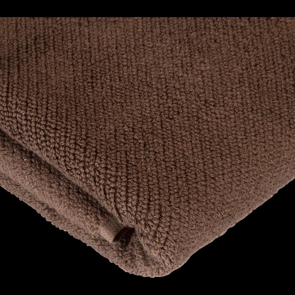 Serviette invité brun châtaignier 30x50cm-COLINE