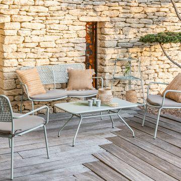 Salon de jardin en métal vert olivier (3 places)