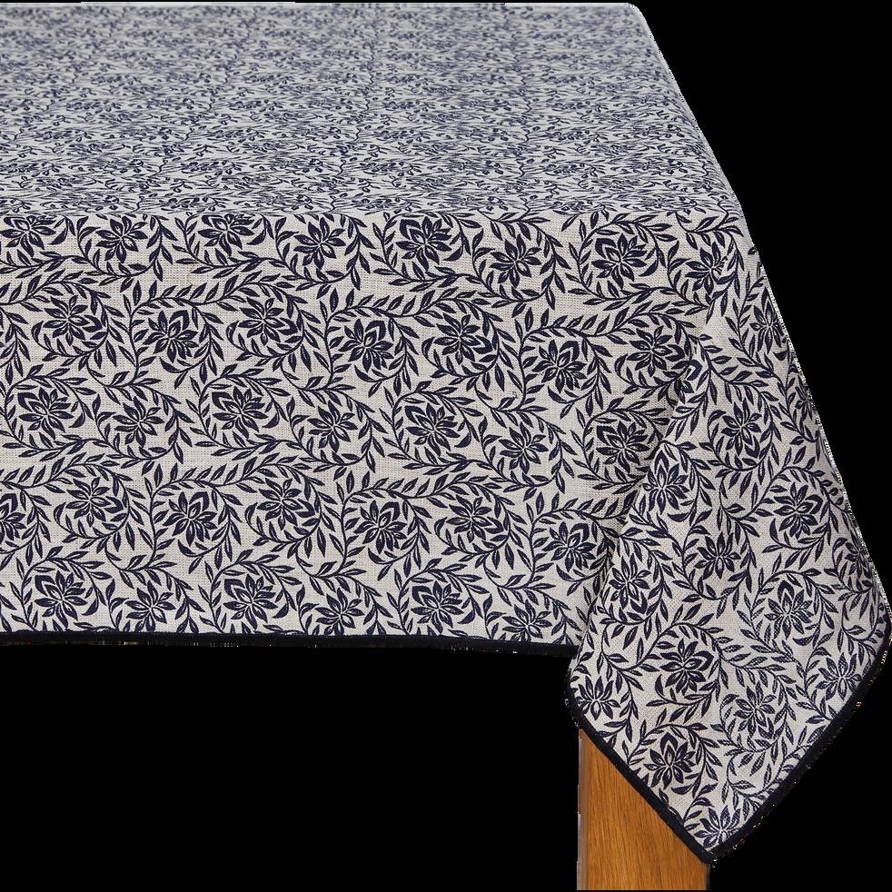 Nappe en lin bleu myrte à motifs jasmin 170x300cm-ARLES