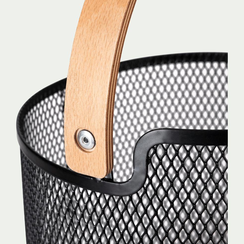 Corbeille à fruits en métal tressé avec poignée en bois D21cm-PAN