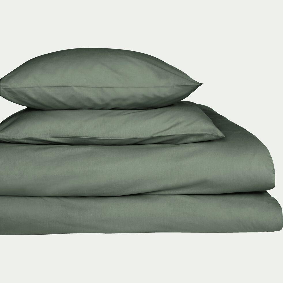 Drap housse en percale de coton - vert cèdre 160x200cm B25cm-FLORE