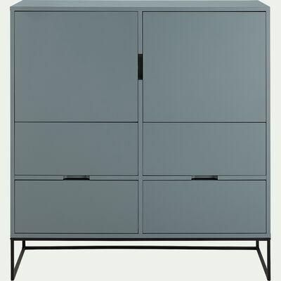 Buffet haut 2 portes et 4 tiroirs en bois et acier - vert mat-CARRY