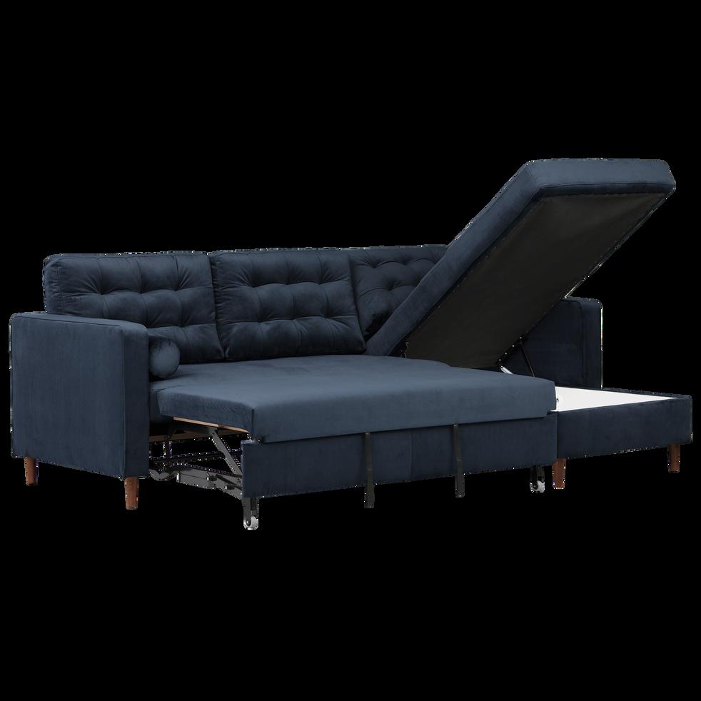 canap d 39 angle convertible r versible en velours bleu. Black Bedroom Furniture Sets. Home Design Ideas