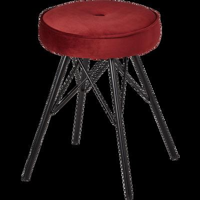 Tabouret en velours rouge sumac - H45cm-FAUSTINE