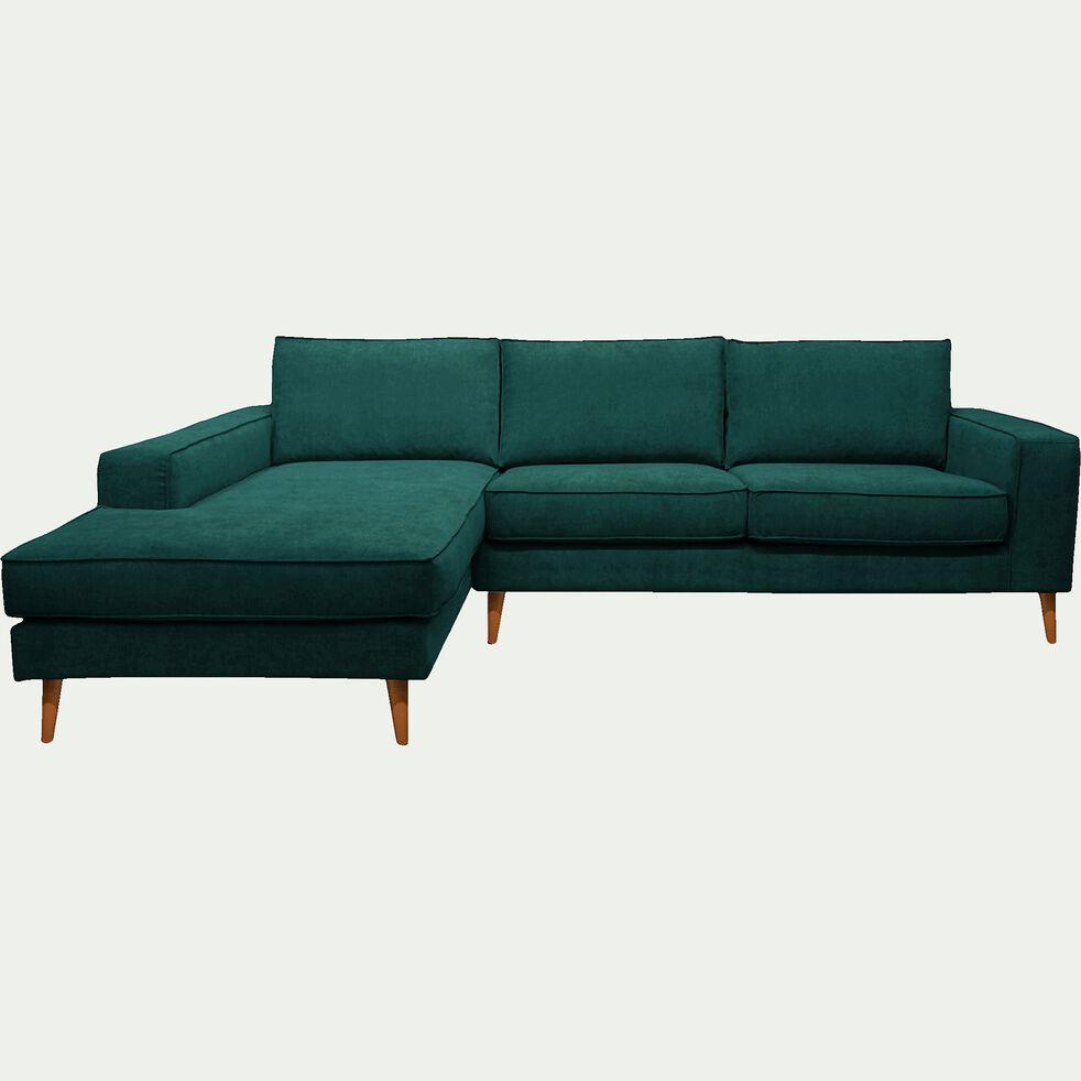 Canapé d'angle fixe gauche en tissu bleu figuerolles-CALIFORNIA