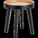 Bout de canapé noir plaqué bambou et cannage-CANE