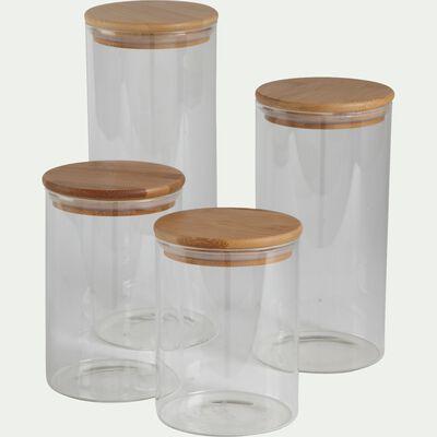 Bocal en verre avec couvercle en bambou 0,72 L-BILL