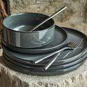 Assiette creuse en grès émail réactif D15,5cm - vert foncé-PIETRA