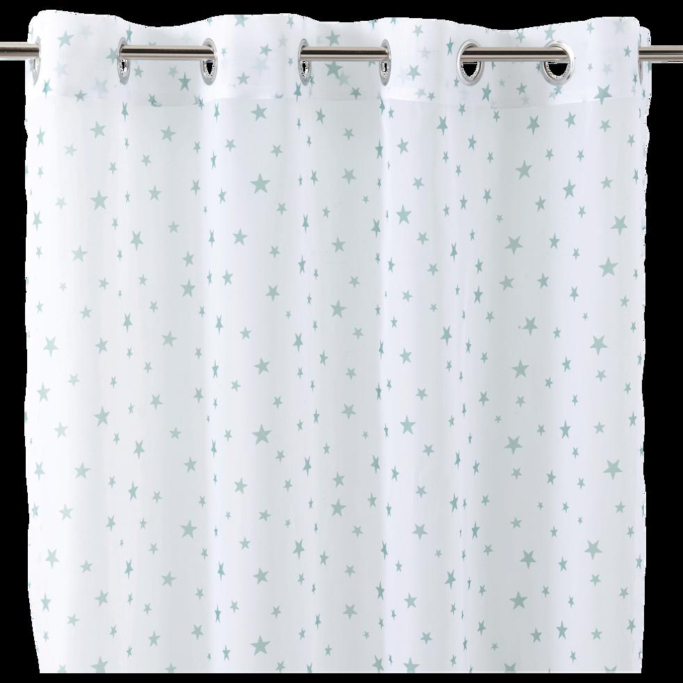 Voilage blanc motifs étoiles vertes 140x240cm pour enfant-STARRY