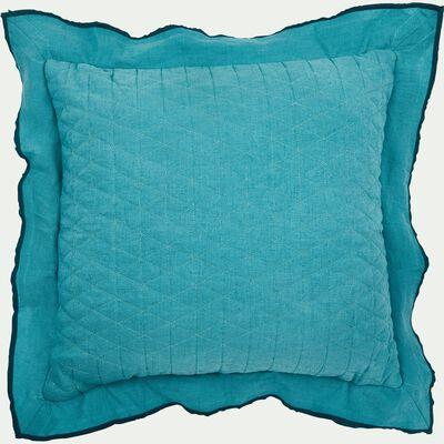Coussin en lin et coton à volants bleu turquoise 45x45cm-KOGON