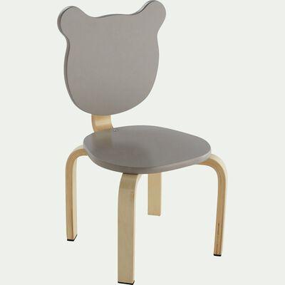 Chaise forme ours couleur taupe pour enfant-LOU