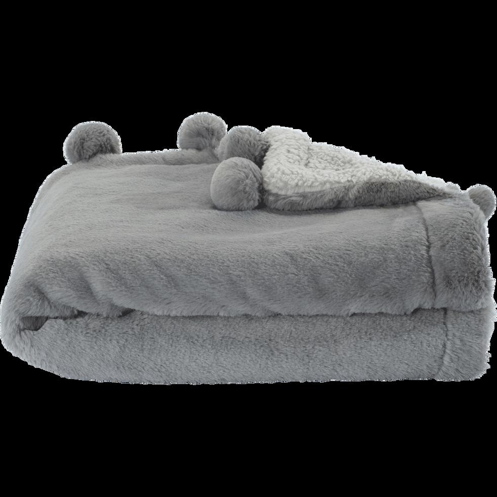 Plaid 100x150cm gris restanque à pompons pour enfant-ISABY