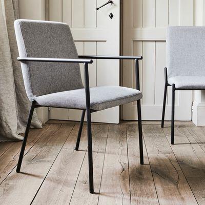 Chaise en tissu avec accoudoirs gris borie-JASPE