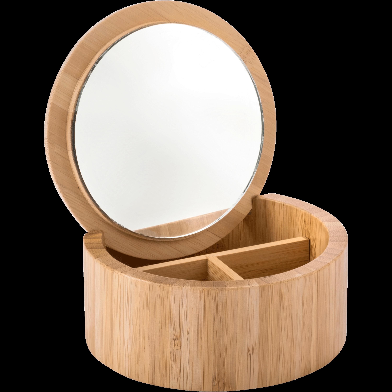 Boîte De Rangement En Bambou Avec Miroir D14,5xH6,5cm REDON