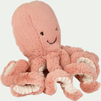 Peluche pieuvre - rose corail H23cm-Odell