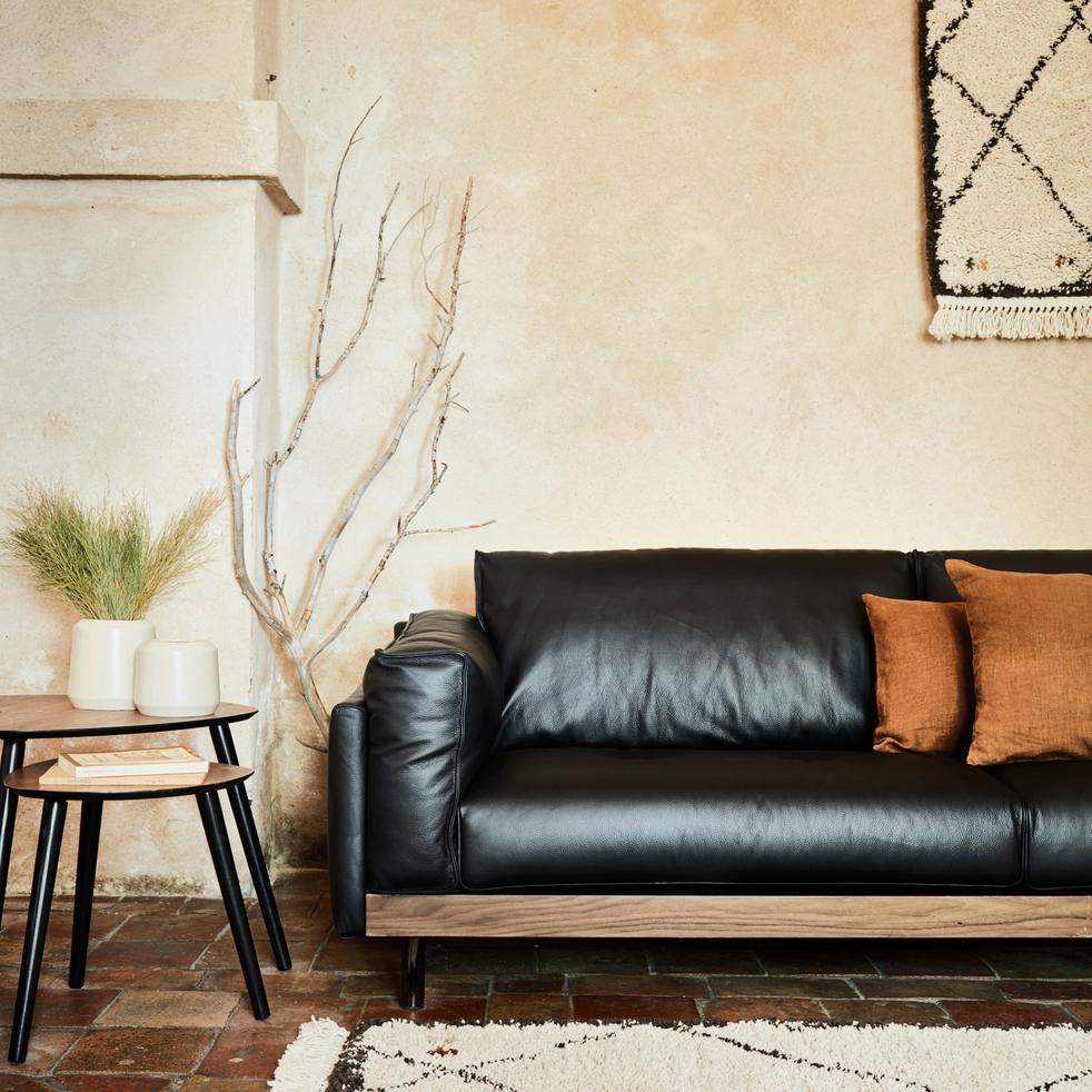 Canapé 3 places fixe en cuir noir calabrun-ELME