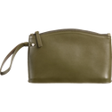 Pochette en cuir vert cèdre H15,5x24,5cm-EUGENIE
