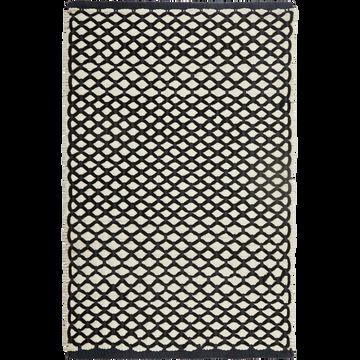 Tapis de bain 50x80cm gris anthracite et blanc tissé main-LENA