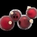 4 boules en verre bordeaux D10cm-NANS