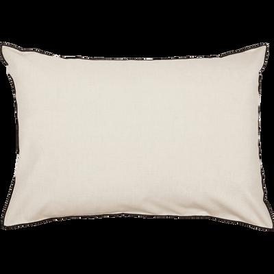 Coussin en coton blanc avec passepoil noir 50x70 cm-LINIA