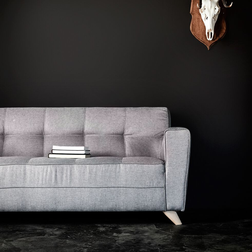 Canapé 3 places fixe en tissu - gris clair-VICKY