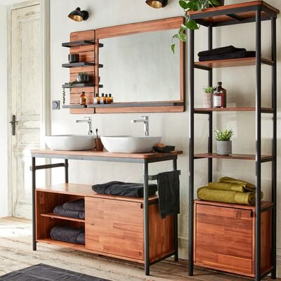Miroir rectangulaire de salle de bain en acacia et métal 90cm-Kota