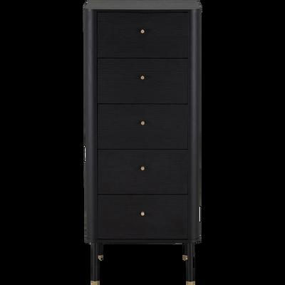 Chiffonnier 5 tiroirs noir-FEREL