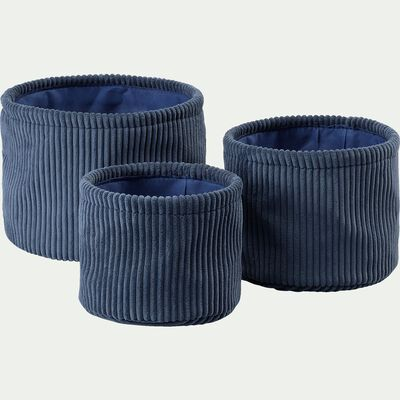 Lot de 3 paniers ronds en velours-côtelé D22xH16cm - bleu-Vela