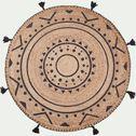 Tapis en jute rond motifs ethniques et ponpoms gris-ANTALYA