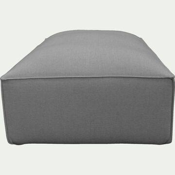 Petit pouf en tissu - L80xH40xl70cm gris vesuve-REVERE