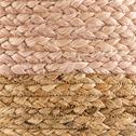 pouf bicolore en jute 40x40x20 cm rose argile-MANDELIEU