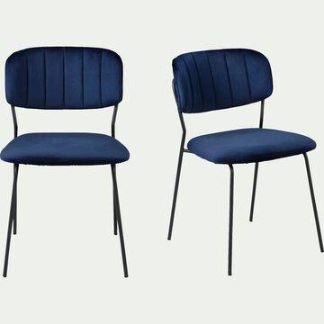 Chaise en velours - bleu céou-TURINA