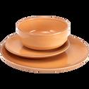 Assiette creuse en faïence orange D16cm-LANKA