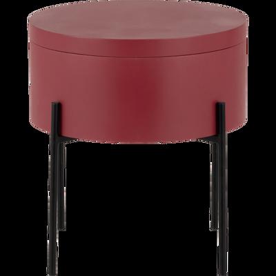 Bout de canapé rouge avec coffre de rangement-DOUFINO
