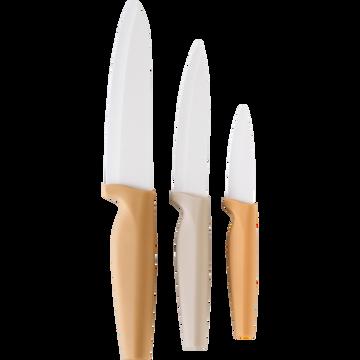 Lot de 3 couteaux de cuisine beige-CERA
