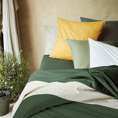 Housse de couette unie en coton vert cèdre-CALANQUES