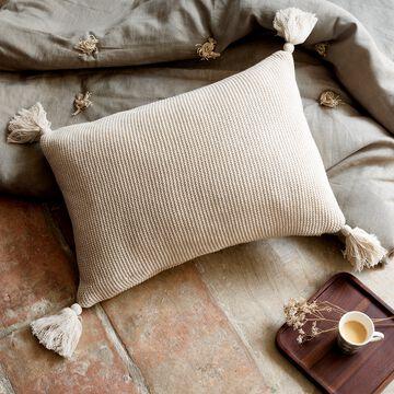 Coussin à pompons tricoté en coton - beige roucas 35x50cm-BAHIA