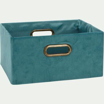 Panier en velours bleu clair L31xl24xH15cm-HOSTA
