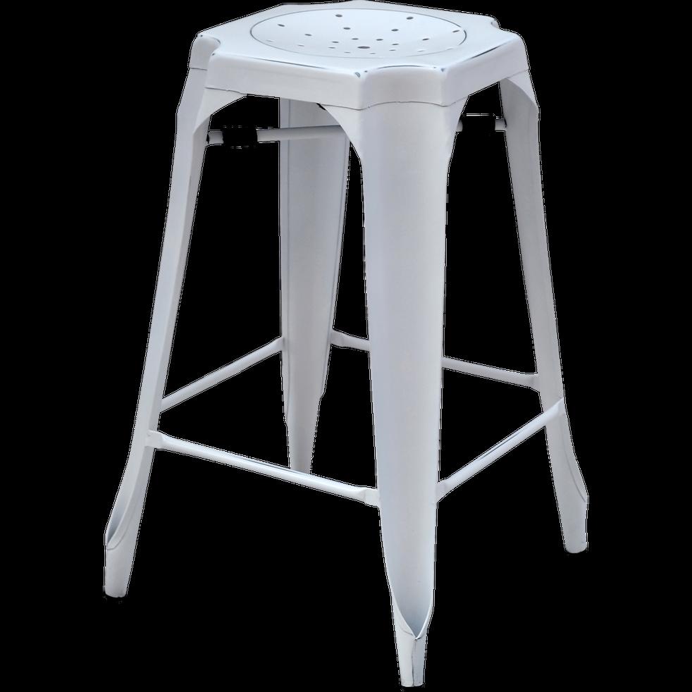 tabouret plan de travail vintage en m tal blanc h66cm. Black Bedroom Furniture Sets. Home Design Ideas